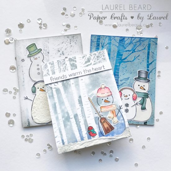Trio of cards: Birch Trees and Snowman